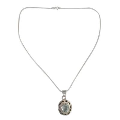 Sterling Silver with Blue Topaz Floral Necklace Jewelry