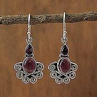 Amethyst dangle earrings, 'Dream of India' - Hand Crafted Sterling Silver and Amethyst Earrings