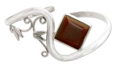 Sterling Silver Cuff Bracelet with Carnelian Floral Jewelry
