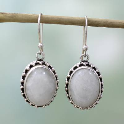 Moonstone dangle earrings, 'Misted Moon' - Moonstone Earrings Artisan Crafted in Sterling Silver