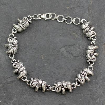 Sterling silver link bracelet, Fortunate Elephants