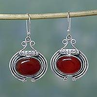 Carnelian dangle earrings, 'Desire' - Artisan jewellery Earrings with Carnelian and Sterling Silve