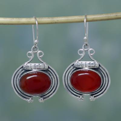 Carnelian dangle earrings, 'Desire' - Artisan Jewelry Earrings with Carnelian and Sterling Silver