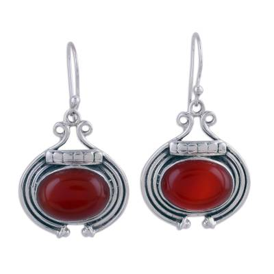 Artisan Jewelry Earrings with Carnelian and Sterling Silver