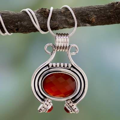 Carnelian pendant necklace, 'Desire' - Women's Jewelry Sterling Silver and Carnelian Necklace