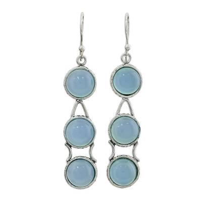 Sterling Silver and Chalcedony Earrings Blue Jewelry
