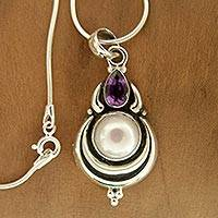 Cultured pearl and amethyst pendant necklace, 'Jaipur Moon' - Grand Indian Necklace with Pearl and Amethyst on Silver