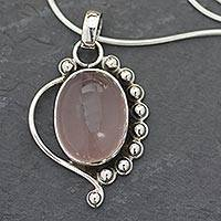 Rose quartz pendant necklace, 'Delhi Romance'