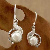 Pearl dangle earrings, 'India Rapture' - Sterling Silver and Pearl Earrings Artisan Jewelry