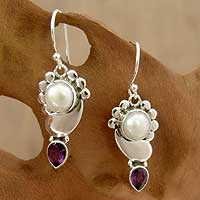 Pearl and amethyst dangle earrings, 'Rajasthan Glory' - Pearl Earrings with Amethyst and Sterling Silver from India