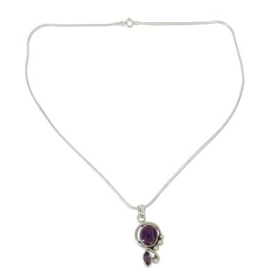 Artisan Crafted Necklace with Amethyst and Silver from India