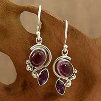 Amethyst dangle earrings, 'Delhi Delight' - Amethyst Earrings in Sterling Silver Jewelry from India