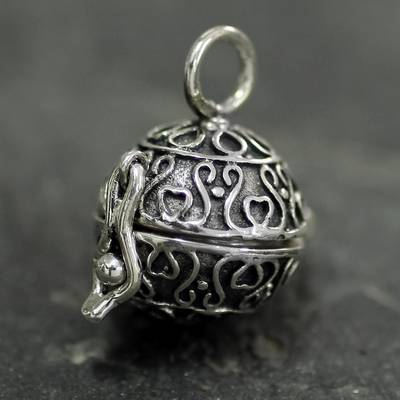 Sterling silver locket pendant, 'My Prayers' - Heart Jewelry Locket Pendant in Sterling Silver