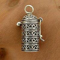 Sterling silver locket pendant, 'Fervent Prayer'