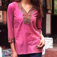 Cotton blouse, 'Rose Floral' - Floral Embroidery Cotton Tunic Top