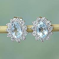 Blue topaz flower earrings,