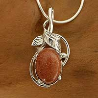 Goldstone pendant necklace, 'Mystical Energy' - Goldstone pendant necklace