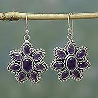 Amethyst flower earrings, 'Purple Blossom' - Unique Floral Sterling Silver and Amethyst Dangle Earrings