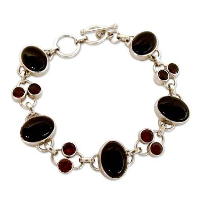 Onyx and Garnet Bracelet from India Silver Jewelry