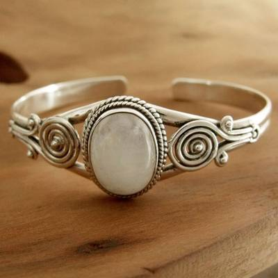 Rainbow moonstone cuff bracelet, 'Morning Magic' - Sterling Silver and Rainbow Moonstone Cuff Bracelet