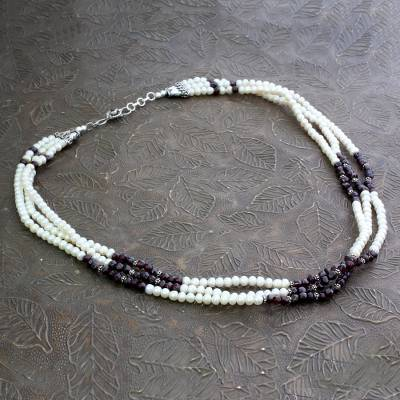 Pearl and garnet strand necklace, 'Pure Love' - Pearl and garnet strand necklace