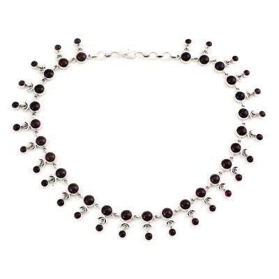 Garnet India Necklace Artisan Crafted with Silver