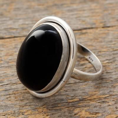 Onyx cocktail ring, 'Universe' - Fair Trade Sterling Silver and Onyx Cocktail Ring