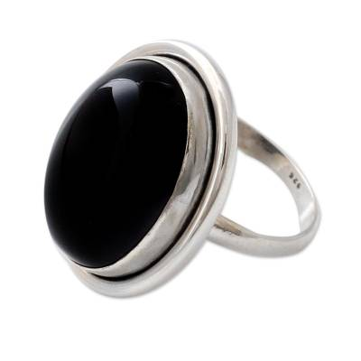 Fair Trade Sterling Silver and Onyx Cocktail Ring