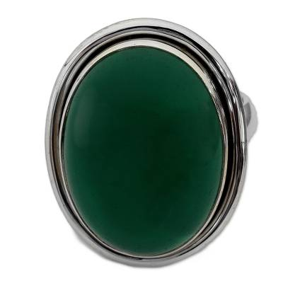Sterling Silver Single Stone and Green Onyx Cocktail Ring