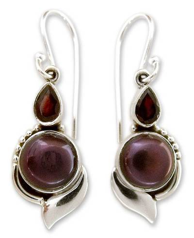 Handcrafted Sterling Silver Garnet and Pearl Earrings