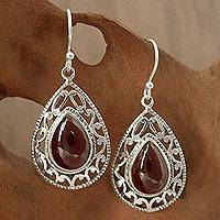 Garnet dangle earrings, 'Vivid Scarlet' - Garnet Earrings in Sterling Silver from India Jewelry