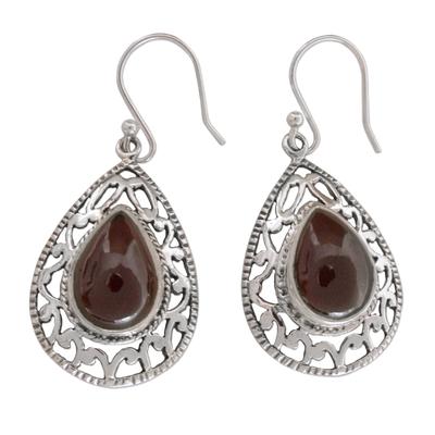 Garnet Earrings in Sterling Silver from India Jewelry