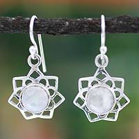 Moonstone dangle earrings, 'Star of Gujurat' - Moonstone dangle earrings