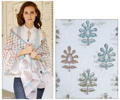 Cotton and Chanderi silk shawl, 'Tropical Paradise' - Floral Silk Cotton Patterned Shawl
