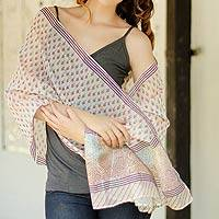Cotton and Chanderi silk shawl, 'Paisley Paradise' - Cotton and Chanderi silk shawl