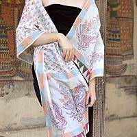 Cotton and Chanderi silk shawl,