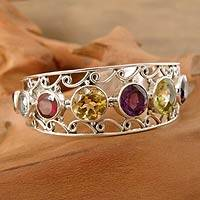 Citrine and amethyst cuff bracelet,