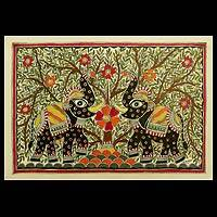 Madhubani painting, 'Royal Roar' - Indian Madhubani Painting