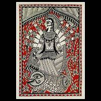 Madhubani painting, 'Divine Power of Durga' - Madhubani painting