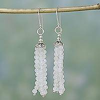 Moonstone waterfall earrings, 'Whisper' - Hand Crafted Moonstone Waterfall Earrings