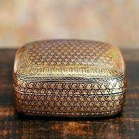 Papier mache jewelry box, 'Kashmir Splendor' - Unique Papier Mache Box