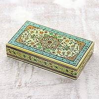 Papier mache jewelry box, 'Kashmir Kaleidoscope' - Hand Made Floral Papier Mache Jewelry Box