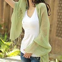 Linen shawl, 'Sheer Moss Green' - Linen shawl