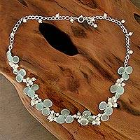 Pearl and chalcedony beaded necklace, Aqua Enchantment