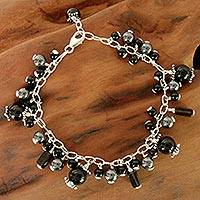 Onyx and smoky quartz beaded bracelet,