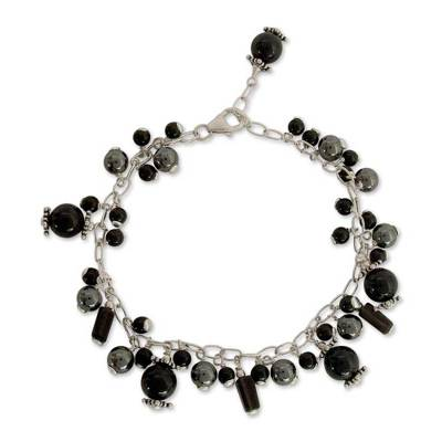 Onyx and smoky quartz beaded bracelet