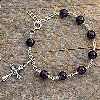 Amethyst cross bracelet, 'Constant Faith' - Amethyst cross bracelet