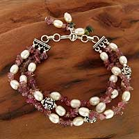 Pearl and tourmaline torsade bracelet, 'Bihar Rose' - Tourmaline and Pearl Beaded Bracelet