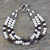 Pearl and garnet wristband bracelet, 'Pure Love' - Pearl and garnet wristband bracelet