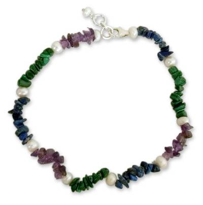 Pearl and amethyst beaded anklet